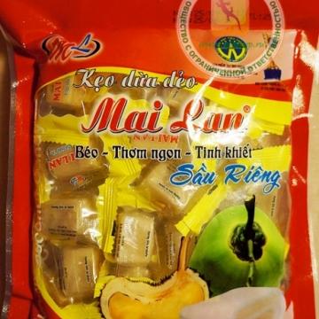 Вьетнамские кокосовые конфеты с дурианом Май Лан 250гр.