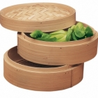 Бамбуковая пароварка двойная 21 см (2 поддона, 1 крышка), Китай